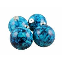 "4ct Marbled Turquoise Shatterproof Christmas Ball Ornaments 3.25"" (80mm)"