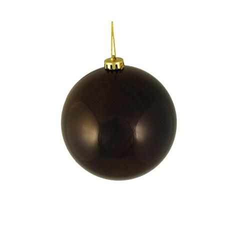 "Shiny Chocolate Brown Shatterproof Christmas Ball Ornament 6"" (150mm)"