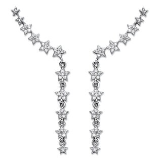 "Cubic Zirconia Star Ear Pin Climber Earrings in Sterling Silver 1.75"" (.47 TCW) Classic CZ"
