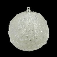 "4"" Pastel Dreams Winter White Glittered Swirl Design Christmas Ball Ornament"