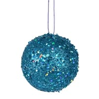 Fancy Blue Holographic Glitter Drenched Christmas Ball Ornament 4.75""