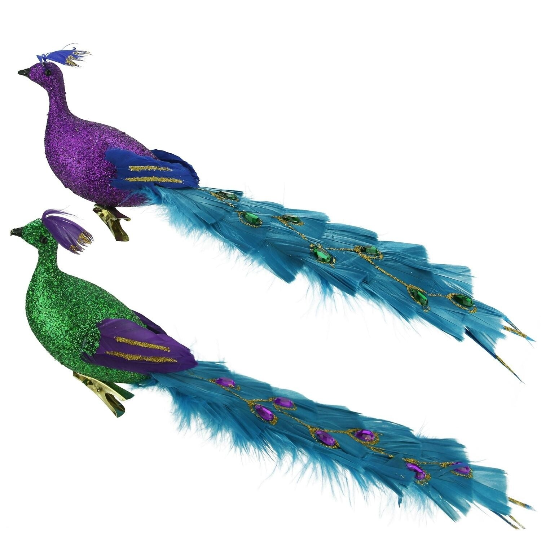 "12"" Regal Peacock Glittered Green, Purple and Blue Bird C..."