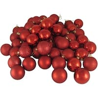 "32ct Shatterproof Red Hot 4-Finish Christmas Ball Ornaments 3.25"" (80mm)"