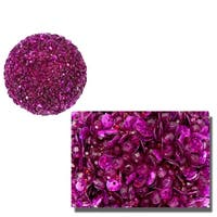 "Lavish Fuschia Pink Fully Sequined & Beaded Christmas Ball Ornament 3.5"" (90mm)"
