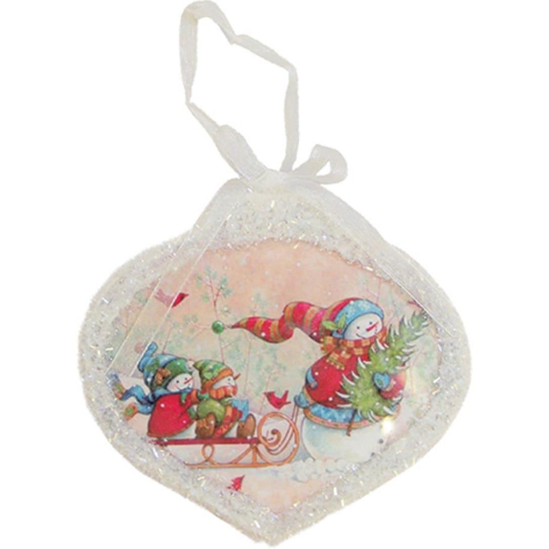 "Illuminated Led Ornaments: 5"" Glass Led Lighted Snowman Scene Christmas Onion"