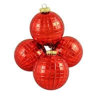 "4ct Shiny Red Disco Ball Shatterproof Christmas Ball Ornaments 2.75"" (70mm)"