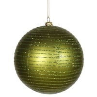 "Olive Green Glitter Striped Shatterproof Christmas Ball Ornament 4.75"" (120mm)"