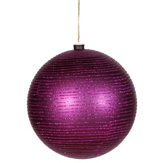 "Plum Purple Glitter Striped Shatterproof Christmas Ball Ornament 4.75"" (120mm)"