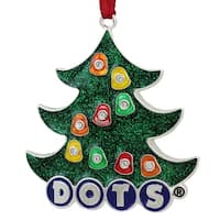 "3"" Silver Plated Dots Candy Logo Christmas Tree Ornament with European Crystals"