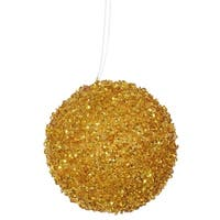 "4ct Antique Gold Sequin and Glitter Drenched Christmas Ball Ornaments 4"" (100mm)"