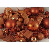 125-Piece Club Pack of Shatterproof Burnt Orange Christmas Ornaments