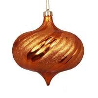"4ct Shiny Burnt Orange Swirl Shatterproof Onion Christmas Ornaments 5.75"""
