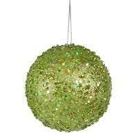 Fancy Green Apple Holographic Glitter Drenched Christmas Ball Ornament 4""