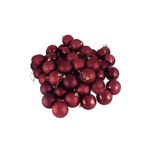 """60ct Burgundy Red Shatterproof 4-Finish Christmas Ball Ornaments 2.5"""" (60mm)"""