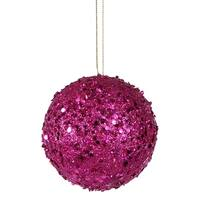 Fancy Fuschia Pink Holographic Glitter Drenched Christmas Ball Ornament 4""