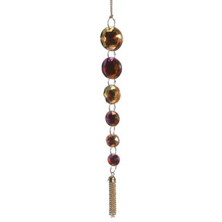 """7"""" Regal Peacock Iridescent Pink and Gold Jewel Pendant Christmas Ornament"""