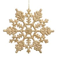 """Club Pack of 24 Gold Glamour Glitter Snowflake Christmas Ornaments 4"""""""