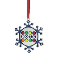 "3.5"" Silver Plated Snowflake Dots Candy Logo Christmas Ornament with European Crystals"