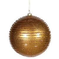 "Antique Gold Glitter Striped Shatterproof Christmas Ball Ornament 4.75"" (120mm)"