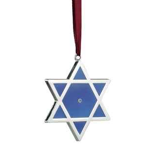 """3"""" Regal Shiny Silver-Plated Blue Star of David Hanukkah Holiday Ornament with European Crystal"""