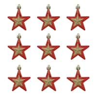 """9ct Red and Gold Glittered Shatterproof Star Christmas Ornaments 2.75"""""""