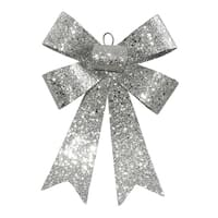 "7"" Silver Glitter 5 Loop Bow Decorative Christmas Ornament"