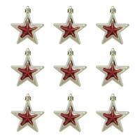 """9ct Gold and Red Glittered Shatterproof Star Christmas Ornaments 2.75"""""""