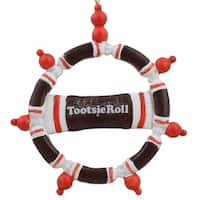 "4"" Candy Lane Tootsie Roll Original Chewy Chocolate Candy Christmas Wreath Ornament"
