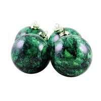 "4ct Marbled Green Shatterproof Christmas Ball Ornaments 3.25"" (80mm)"