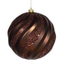 "Chocolate Brown Glitter Swirl Shatterproof Christmas Ball Ornament 8"" (200mm)"