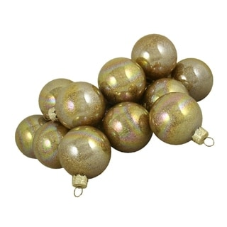 "Club Pack of 36 Gold Metallic Glitter Glass Ball Christmas Ornaments 2.75"" (67mm)"