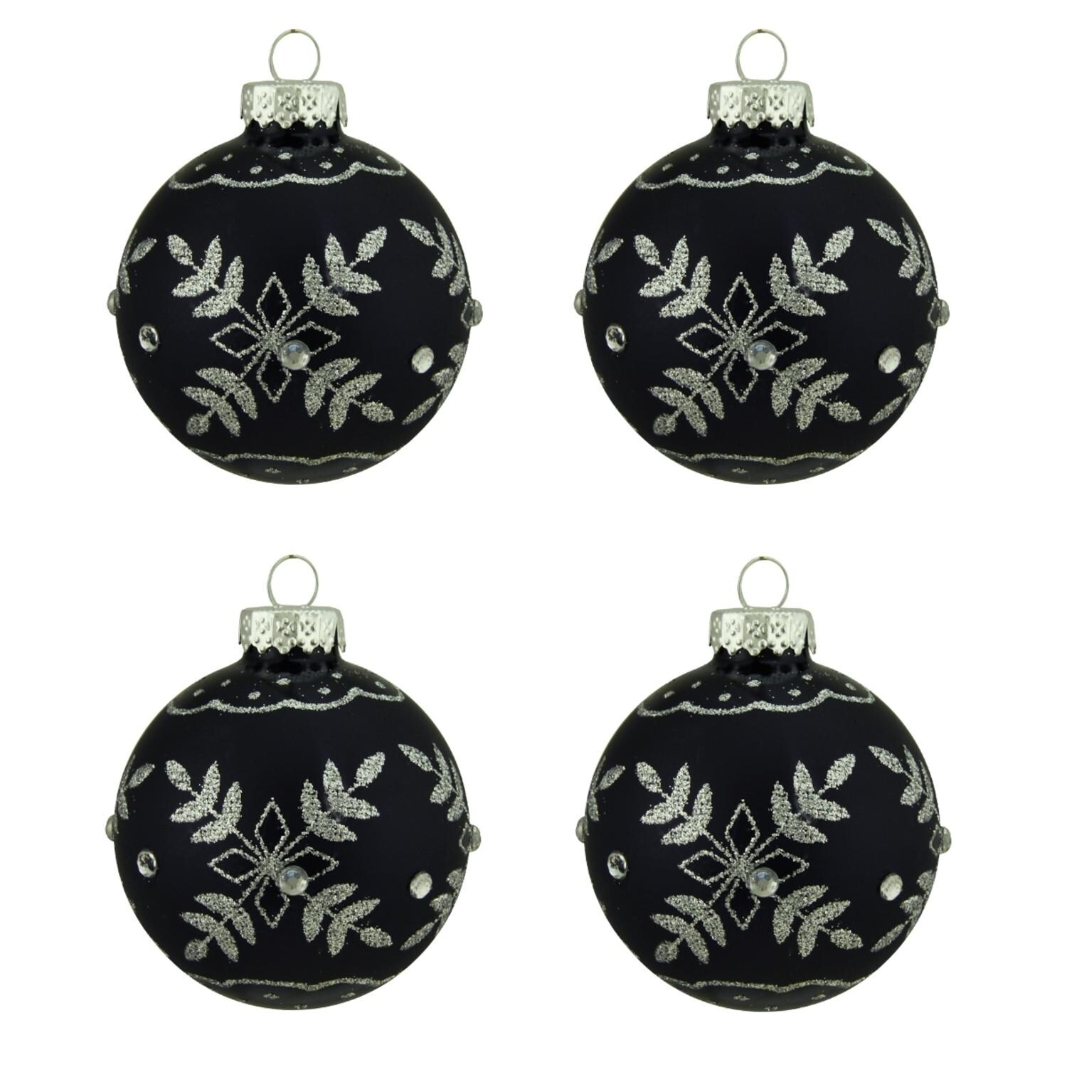 """4ct Matte Black with Silver Snowflake Design Glass Ball Christmas Ornaments 2 5"""" 65mm"""
