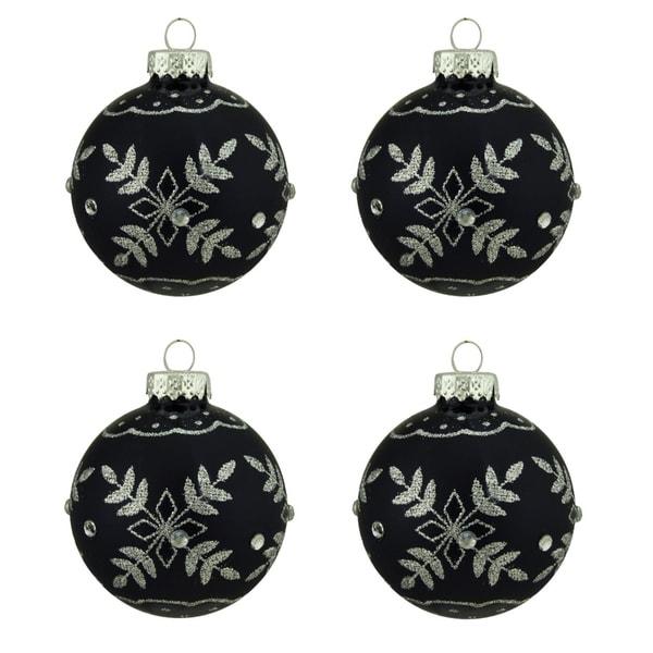 Shop 4ct Matte Black With Silver Snowflake Design Glass Ball
