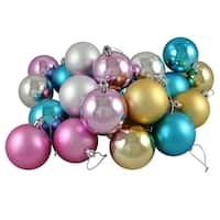 "24ct Matte & Shiny Pastel Multi-Color Shatterproof Christmas Ball Ornaments 2.5"" (60mm)"
