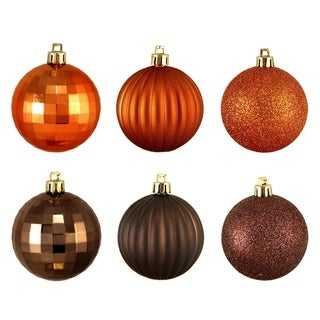 "100ct Brown & Orange 3-Finish Shatterproof Christmas Ball Ornaments 2.5"" (60mm)"