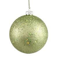 "Green Kiwi Holographic Glitter Shatterproof Christmas Ball Ornament 4"" (100mm)"