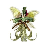 "7.5"" Princess Garden Green and Purple Lily Fairy Glitter Christmas Ornament"