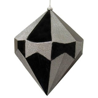 "Giant 18"" Black & Silver Diamond Commercial Christmas Ornament Decoration"