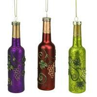 "6"" Tuscan Winery Green Wine Bottle Mercury Finish Glass Christmas Ornament"