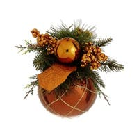 "8"" Brown and Orange Pine Cone and Berry Glittered Christmas Ball Ornament Decor"