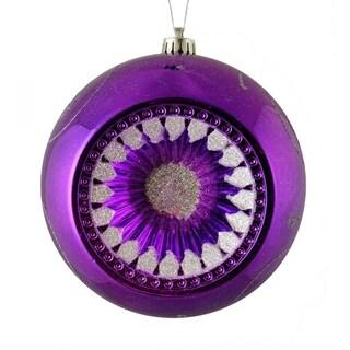 "Purple & Silver Retro Reflector Shatterproof Christmas Ball Ornament 8"" (200mm)"