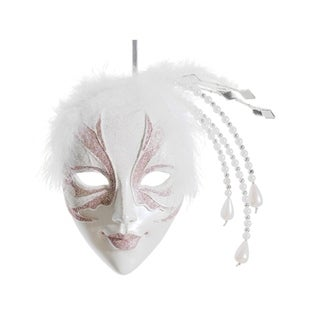 """9"""" Pink and White Glittered Ornate Masquerade Mask Christmas Ornament"""