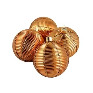 "4ct Shiny Orange Ribbed Shatterproof Christmas Ball Ornaments 2.5"" (60mm)"