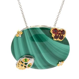 Michael Valitutti Palladium Silver Malachite, Chrome Diopside & Garnet Snake Wrapping & Apple Pendant