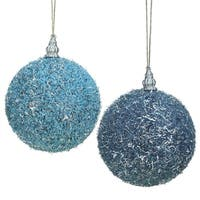 """Pack of 4 Light Blue Beaded Silver Tinsel Confetti Christmas Ball Ornaments 4"""" (100mm)"""