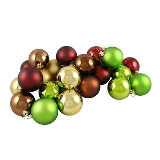 """24ct Matte & Shiny Earth Tone Shatterproof Christmas Ball Ornaments 2.5"""" (60mm)"""
