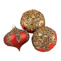 """3ct Red Glitter Sequin Beaded Shatterproof Christmas Onion Ornaments 4"""" (100mm)"""