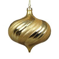 4ct Shiny Vegas Gold Glitter Swirl Shatterproof Onion Christmas Ornaments 5.75""