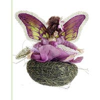 "5"" Princess Garden Green and Purple Butterfly Fairy in Nest Christmas Ornament"