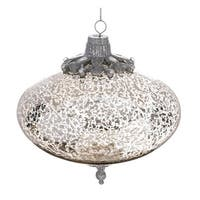 "4.75"" Silver Mercury Glass w/ Rhinetone & Glitter Embellished Snowflake Cap Christmas Onion Ornament"